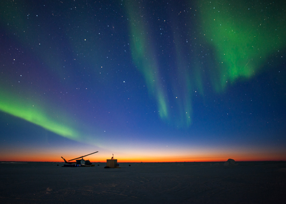 160309-N-ZZ999-008 ARCTIC CIRCLE (March 10, 2016) - The aurora borealis appears over Ice Camp Sargo as the sun sets during Ice Exercise (ICEX) 2016. ICEX 2016 is a five-week exercise designed to research, test, and evaluate operational capabilities in the region. ICEX 2016 allows the U.S. Navy to assess operational readiness in the Arctic, increase experience in the region, advance understanding of the Arctic Environment, and develop partnerships and collaborative efforts. (U.S. Navy photo by Electronics Technician 2nd Class Nate Madlem/Released)