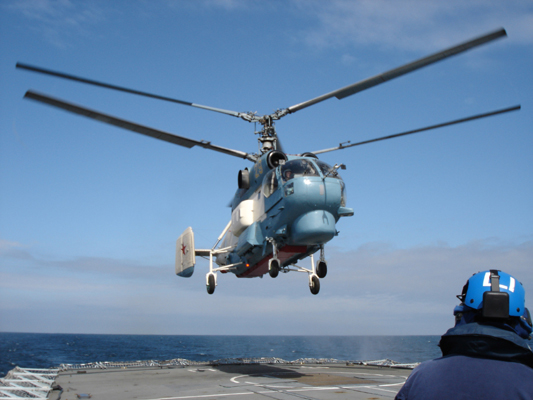 "050607-N-0000L-001 A Russian KA-27 helicopter assigned to the Russian destroyer RFS Natoychiviy (DD 610) lands aboard the British frigate HMS Sutherland (F 81) during Baltic Operations (BALTOPS) 2005. This year's international exercise, co-hosted by Latvia and the United States, includes 11 nations, 4,100 people, 40 ships, 28 aircraft and two submarines in the spirit of ""Partnership for Peace (PFP)."" BALTOPS 2005 improves interoperability with allies and PFP countries by conducting peace support operations at sea to include a combined amphibious landing and a scenario dealing with potential real world crisis. Royal Navy photo by Lt. Cmdr. Keith Lincoln (RELEASED)"
