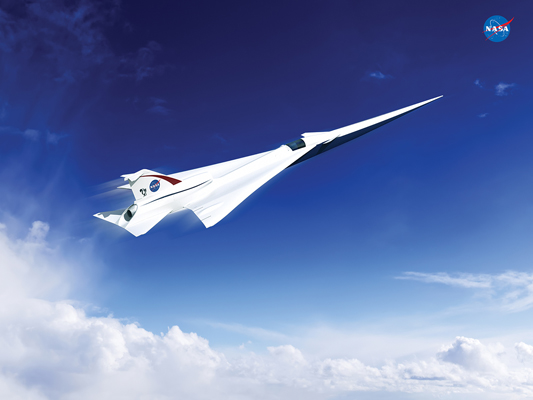 This is an artist's concept of a possible Low Boom Flight Demonstration Quiet Supersonic Transport (QueSST) X-plane design. The award of a preliminary design contract is the first step towards the possible return of supersonic passenger travel – but this time quieter and more affordable--Lockheed Martin concept image