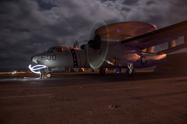 160320-N-OR652-590 ATLANTIC OCEAN (March 20, 2016) – An E-2C Hawkeye assigned to the Screwtops of Early Warning Squadron (VAW) 123, is hooked onto the catapult prior to taking off from the flight deck of the aircraft carrier USS Dwight D. Eisenhower (CVN 69), the flagship of the Eisenhower Carrier Strike Group. Ike is underway conducting a Composite Training Unit Exercise (COMPTUEX) with the Eisenhower Carrier Strike Group in preparation for a future deployment. (U.S. Navy photo by Mass Communication Specialist 3rd Class J. Alexander Delgado/Released)