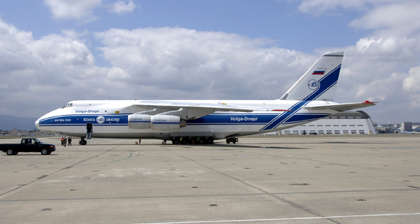 A Russian Volga-Dnepr AN-124 long-range heavy transport aircraft is parked April 20 at Moffett Federal Airfield, Calif. The contracted AN-124 transported 129th Rescue Wing deployment cargo to Afghanistan because the high operations tempos of Operations Iraqi Freedom and Enduring Freedom have kept C-17 Globemaster III and C-5 Galaxy aircraft fully engaged. (U.S. Air Force photo/Senior Master Sgt. Christopher Hartman)