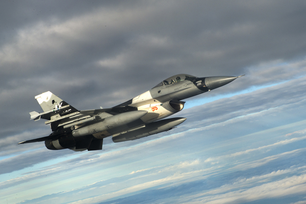 A U.S. Air Force F-16 Fighting Falcon from the 18th Aggressor Squadron at Eielson Air Force Base, Alaska, flies in support of Forceful Tiger Jan. 28, 2016, near Okinawa, Japan. The 18th AGRS, which opened Aug. 24, 2007, provides challenging, yet realistic threat replication training in order to prepare Air Force, joint and allied aircrews for potential aerial combat. (U.S. Air Force photo by Staff Sgt. Maeson L. Elleman)