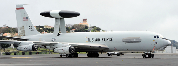 An E-3 Sentry lands at Lajes Field, Azores, April 11, 2011, before continuing on its mission. The E-3 often referred to as the Airborne Warning and Control System (AWACS), received more than 2,000 gallons of jet fuel before departing Lajes for its mission downrange. (U.S. Air Force photo by Tech. Sgt. Chyrece Campbell/Released)