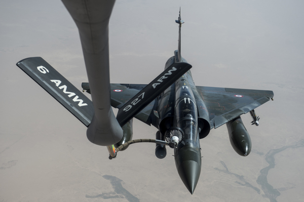 A French Mirage 2000D aircraft receives fuel from a U.S Air Force KC-135 Stratotanker aircraft over Iraq April 8, 2016. President Barack Obama authorized U.S. Central Command to work with partner nations to conduct targeted airstrikes of Iraq and Syria as part of the comprehensive strategy to degrade and defeat the Islamic State of Iraq and the Levant, or ISIL. (U.S. Air Force photo by Staff Sgt. Corey Hook)