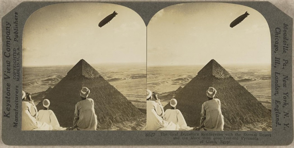Graf Zeppelin ove the pyramids in Giza on 29 August 1929 Stereoscope slide