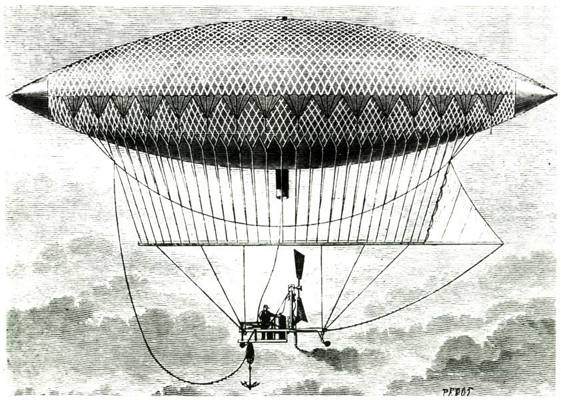 Woodcut by Perot depicting left side view of Henri Giffard steam-powered airship of 1852 in flight dated 24 September 1852 NASA image