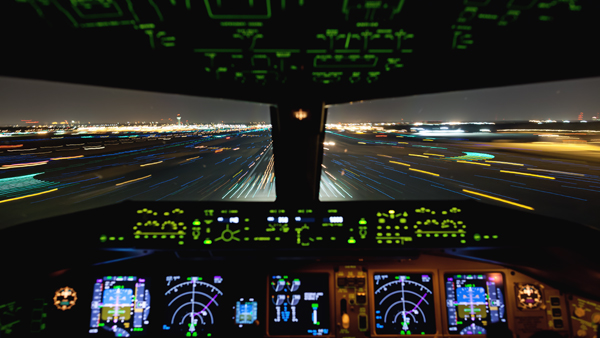 Night landing in a FedEx cargo aircraft—image provided by National Geographic