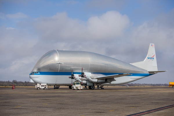 New Orleans, LA - Orion EM-1 departs Michoud Assembly Facility for Kennedy Space Center in Florida. The vessel was loaded onto NASA's Super Guppy cargo aircraft.