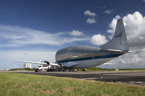 The heat shield for Orion EM-1 arrives at the Shuttle Landing Facility (SLF) operated by Space Florida at NASA Kennedy's Space Center.