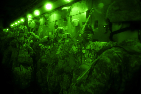 U.S. Soldiers from the 82nd Airborne Division prepare for a personnel drop from an Air Force C-17 Globemaster III aircraft over Fort Bragg, N.C., for a personnel drop during a joint forcible entry exercise (JFEX) Sept. 13, 2010, at Pope Air Force Base, N.C. A JFEX training event is held six times a year in order to enhance cohesiveness between the Air Force and the Army. (U.S. Air Force photo by Tech. Sgt. DeNoris A. Mickle/Released)