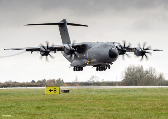 A Royal Air Force A400M Atlas aircraft at RAF Brize Norton on 18th Nov 2014. The first of the UK's A400M Atlas next-generation military transport aircraft was officially unveiled by the MOD at its new home at RAF Brize Norton in November 2014. The aircraft will replace the existing fleet of C-130 Hercules which have been the tried and trusted workhorse of the RAF's Air Transport Fleet for decades. Manufactured by Airbus Defence & Space, A400M Atlas will represent major advances on its predecessor, capable of flying almost twice as fast, twice as far and carrying almost twice as much cargo. With a cargo capacity of 32 tonnes and a hold optimised for carriage of heavy vehicles, helicopters or cargo pallets, the aircraft is capable of supporting a wide range of operational scenarios. ------------------------------------------------------- © Crown Copyright 2014 Photographer: Paul Crouch Image 45158357.jpg from www.defenceimages.mod.uk This image is available for high resolution download at www.defenceimagery.mod.uk subject to the terms and conditions of the Open Government License at www.nationalarchives.gov.uk/doc/open-government-licence/. Search for image number 45158357.jpg For latest news visit www.gov.uk/government/organisations/ministry-of-defence Follow us: www.facebook.com/defenceimages www.twitter.com/defenceimages