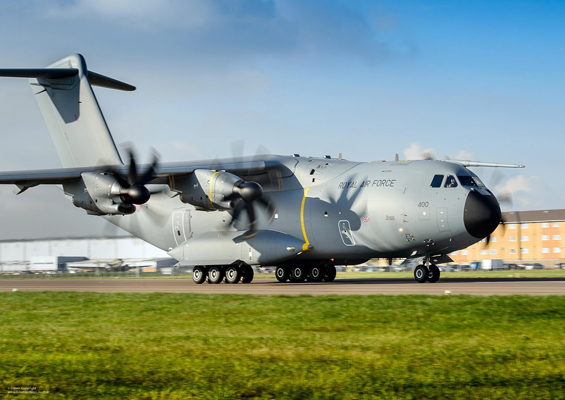A Royal Air Force A400M Atlas aircraft at RAF Brize Norton on 18th Nov 2014. The first of the UK's A400M Atlas next-generation military transport aircraft was officially unveiled by the MOD at its new home at RAF Brize Norton in November 2014. The aircraft will replace the existing fleet of C-130 Hercules which have been the tried and trusted workhorse of the RAF's Air Transport Fleet for decades. Manufactured by Airbus Defence & Space, A400M Atlas will represent major advances on its predecessor, capable of flying almost twice as fast, twice as far and carrying almost twice as much cargo. With a cargo capacity of 32 tonnes and a hold optimised for carriage of heavy vehicles, helicopters or cargo pallets, the aircraft is capable of supporting a wide range of operational scenarios. ------------------------------------------------------- © Crown Copyright 2014 Photographer: Paul Crouch Image 45158359.jpg from www.defenceimages.mod.uk This image is available for high resolution download at www.defenceimagery.mod.uk subject to the terms and conditions of the Open Government License at www.nationalarchives.gov.uk/doc/open-government-licence/. Search for image number 45158359.jpg For latest news visit www.gov.uk/government/organisations/ministry-of-defence Follow us: www.facebook.com/defenceimages www.twitter.com/defenceimages