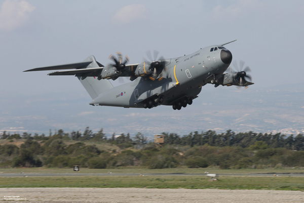A Royal Air Force A400M Atlas aircraft takes off from RAF Akrotiri in Cyprus. The aircraft was visiting Akrotiri as part of ongoing trials. Number LXX Squadron is the first operational Airbus A400M Atlas Squadron. The Squadron stood-up in an administrative and engineering support capacity on 1 October 2014, allowing sufficient time for it to be configured and manned appropriately prior to formally accepting air transport tasking from Summer 2015. The aircraft will be operated initially by No. XXIV Squadron, the Fixed Wing Air Mobility Operational Conversion Unit, which is responsible for conducting training for Atlas aircrew and engineering personnel. Additionally No. 206(R) Squadron will test and evaluate Atlas as part of the aircraft's capability development process. ------------------------------------------------------- © Crown Copyright 2014 Photographer: Cpl Rich Denton RAF Image 45158461.jpg from www.defenceimages.mod.uk This image is available for high resolution download at www.defenceimagery.mod.uk subject to the terms and conditions of the Open Government License at www.nationalarchives.gov.uk/doc/open-government-licence/. Search for image number 45158461.jpg For latest news visit www.gov.uk/government/organisations/ministry-of-defence Follow us: www.facebook.com/defenceimages www.twitter.com/defenceimages