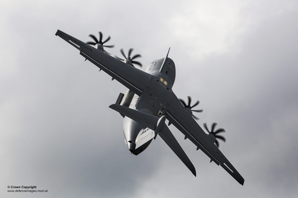 An A400M at the Royal International Air Tattoo (RIAT) 2014 at Fairford, one of the largest Airshows in the UK. The A400M aircraft, when in RAF service, will be named ATLAS and the RAF will take delivery of its first of 22 aircraft in Autumn 2014 with deliveries expected to be complete by 2019. The A400M, which is a collaborative venture involving the governments and industries of six European countries, will support the deployment of the Joint Rapid Reaction Force and will give the RAF a tactical and strategic-airlift aircraft capable of supporting all three services and be interoperable with other nations. The aircraft will be capable of carrying a load of 25 tonnes over a range of 2000nmls at speeds comparable with pure-jet military transports. It will be capable of operating either at low-level (down to 150ft agl) or at high-level altitudes to 40,000ft, and it will be able to deploy troops and/or equipment between and within theatres of operation either by parachute (up to 108 paratroopers), or by landing on short, unprepared or semi-prepared strips. It will also offer significant improvements in reliability, maintenance and operating costs over the C-130J fleet. ------------------------------------------------------- © Crown Copyright 2014 Photographer: Cpl Neil Bryden RAF Image 45157920.jpg from www.defenceimages.mod.uk This image is available for high resolution download at www.defenceimagery.mod.uk subject to the terms and conditions of the Open Government License at www.nationalarchives.gov.uk/doc/open-government-licence/. Search for image number 45157920.jpg For latest news visit www.gov.uk/government/organisations/ministry-of-defence Follow us: www.twitter.com/defenceimages
