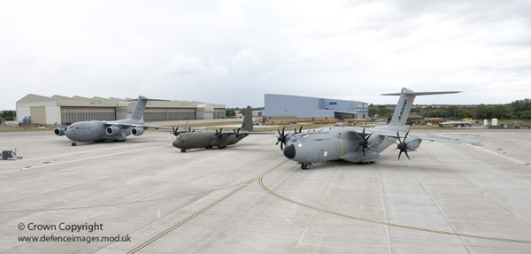 Seen here in the foreground at RAF Brize Norton, is the Airbus A400M. The Airbus A400M will be RAF's future transport aircraft. In the background are a C-17, and the C130-J in the middle. The A400M will replace part of the RAF C-130 fleet early in the next decade with 25 on order for the UK. The A400M will be the RAF's new state-of-the-art transport aircraft for the 21st century. Capable of carrying a mixture of troops, equipment, vehicles, and helicopters to the heart of operations, these aircraft will be the backbone of support to troops. Their ability to take-off and land on short makeshift strips will enable deployment of forces quickly and effectively around the world on a variety of operations. Photographer: Andrew Linnett From: www.defenceimages.mod.uk