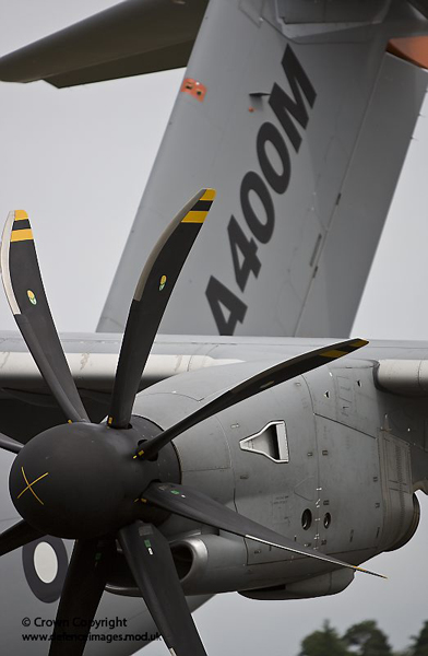 The Airbus A400M, the RAF's future transport aircraft, which was on display at the Farnborough Air Show. The A400M will replace part of the RAF C-130 fleet early in the next decade with 25 on order for the UK. The A400M will be the RAF's new state-of-the-art transport aircraft for the 21st century. Capable of carrying a mixture of troops, equipment, vehicles, and helicopters to the heart of our operations these aircraft will be the backbone of support to troops. Their ability to take-off and land on short makeshift strips will enable deployment of forces quickly and effectively around the world on a variety of operations. Photographer: Harland Quarrington From: www.defenceimages.mod.uk
