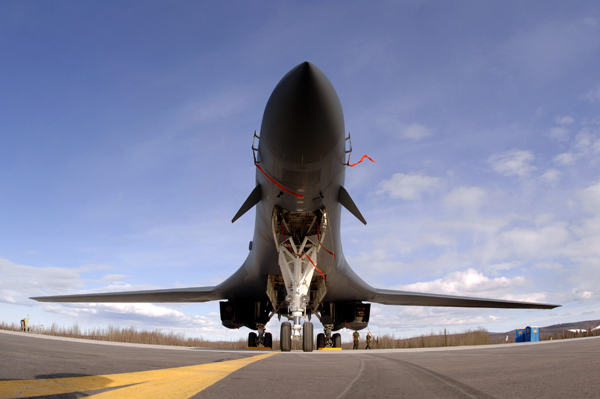 A B-1B Lancer from Ellsworth Air Force Base, S.D., sits on the flightline at Eielson Air Force Base, Alaska, April 9 during Red Flag-Alaska 07-1. Red Flag-Alaska enables aircrews to sharpen their combat skills by flying simulated combat sorties in a realistic threat environment. Additionally, the training allows them to exchange tactics, techniques, and procedures and improve interoperability. (U.S. Air Force photo/Staff Sgt. Joshua Strang)