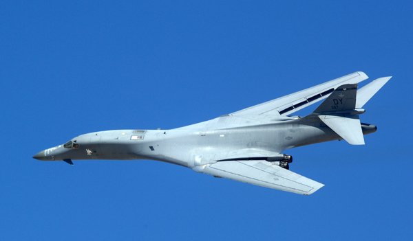 A B-1 Lancer from the 7th Bomb Wing at Dyess Air Force Base, Tex., makes a high speed pass Sept. 14 during a fire power demonstration at the Nevada Test and Training Range. The demonstration gave spectators a close-up and realistic view into the Air Force's ability to perform its wartime mission. (U.S. Air Force photo/Airman 1st Class Brian Ybarbo)