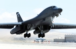 A B-1 Lancer assigned to 7th Operations Group at Dyess Air Force Base, Texas, departs for a training mission March 3, 2010 at Red Flag 10-3, at Nellis AFB, Nev.  Red Flag is a realistic combat training exercise involving the air forces of the United States and its allies. The exercise is conducted on the 15,000-square-mile Nevada Test and Training Range, north of Las Vegas. (U.S. Air Force photo /Airman 1st Class Brett Clashman)