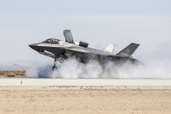140610-N-ZZ999-001 FORT WORTH, Texas (July 30, 2014) The Lockheed Martin F-35B Joint Strike Fighter completes a required wet runway and crosswind testing at Edwards Air Force Base, Calif., an important program milestone enabling U.S. Marines Corps initial operational capability certification. (U.S. Navy photo/Released)