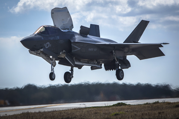 160308-M-BL734-841 BEAUFORT, S.C. (March 8, 2016) An F-35B Lightning II performs a vertical landing aboard Marine Corps Air Station Beaufort. The F-35B is the short takeoff and vertical landing variant of the jet which uses a jet propulsion system to execute the landing. The aircraft is with Marine Fighter Attack Training Squadron 501. (U.S. Marine Corps Photo by Cpl. Jonah Lovy/Released)