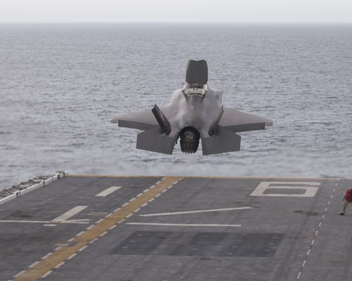 161028-N-SS390-001 PACIFIC OCEAN (Oct. 28, 2016) An F-35B Lightning II short takeoff/vertical landing (STOVL) aircraft from Air Test & Evaluation Squadron (VX) 23 at NAS Patuxent River, Maryland launches from the flight deck of amphibious assault ship USS America (LHA 6) on Oct. 28. A highly diverse cadre of Pax River Integrated Test Force (ITF) technicians, maintainers, engineers, logisticians, support staff and test pilots are embarked aboard USS America for the third and final developmental test phase (DT-III) of F-35B carrier suitability and integration. Also aboard USS America with the Salty Dogs of VX-23 are Marine Operational Test and Evaluation Squadron (VMX) 1 from Edwards AFB, California and Marine Fighter Attack Squadron (VMFA) 211 from MCAS Yuma, Arizona. (U.S. Navy Photo by Darin Russell/Released)
