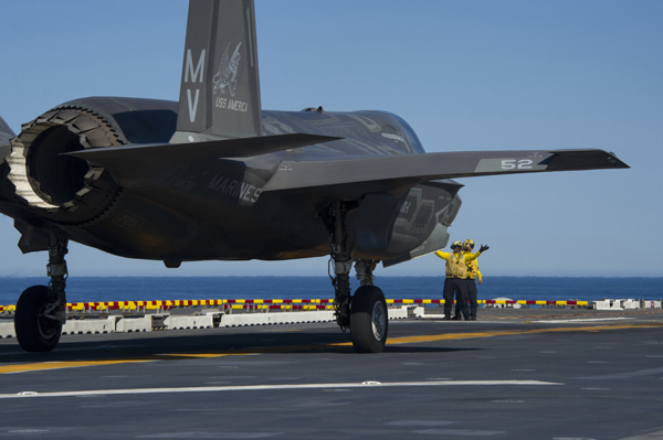 161103-N-VR008-0166 PACIFIC OCEAN (Nov. 3, 2016) Sailors direct F-35B Lightning II aircraft on the flight deck of amphibious assault ship USS America (LHA 6) during flight operations. The F-35B short takeoff/vertical landing (STOVL) variant is the world's first supersonic STOVL stealth aircraft. America, with Marine Operational Test and Evaluation Squadron 1 (VMX-1), Marine Fighter Attack Squadron 211 (VMFA-211) and Air Test and Evaluation Squadron 23 (VX-23) embarked, are underway conducting operational testing and the third phase of developmental testing for the F-35B Lightning II aircraft, respectively. The tests will evaluate the full spectrum of joint strike fighter measures of suitability and effectiveness in an at-sea environment. (U.S. Navy photo by Petty Officer 3rd Class Kyle Goldberg/Released)