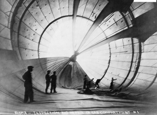 Normally filled with hydrogen gas, the Romaís gas bag was filled with air to allow workmen to repair any leaks. (U.S. Air Force photo)