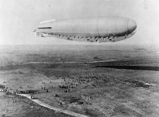 The Roma makes its first flight in the United States at Langley Field, Va., on Nov. 15, 1921. (U.S. Air Force photo)