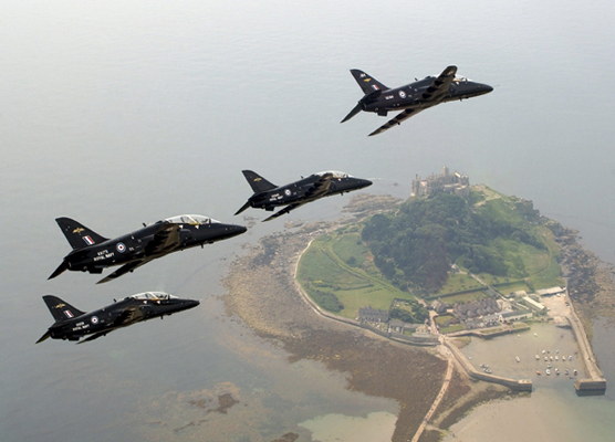 HAWKS FROM FRADU AT RNAS CULDROSE IN FORMATION OVER ST. MICHAEL'S MOUNT, CORNWALL
