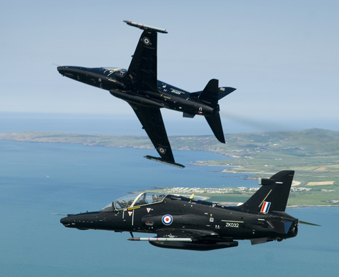 The RAF's latest fast jet trainer, the Hawk T2 is pictured during a flight over the beautiful scenery of North Wales. Based at RAF Valley on the Isle of Anglesey, the TMK2 Hawk is designed to train fast jet fighter pilots air combat and tactical weapons use, preparing them for front line operational aircraft like the Typhoon and Tornado.