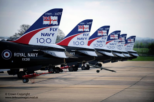 A line of specially painted Fleet Air Arm Hawk jet aircraft are pictured at RNAS Yeovilton. 2009 is the 100th Anniversary of Naval Aviation and many events are planned across the country. This image is available for non-commercial, high resolution download at www.defenceimages.mod.uk subject to terms and conditions. Search for image number 45150185.jpg ---------------------------------------------------------------------------- Photographer: LA(Phot) Dave Jenkins Image 45150185.jpg from www.defenceimages.mod.uk