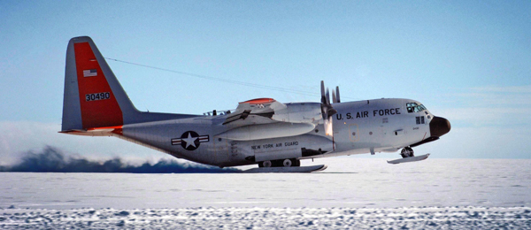 The crew of a ski-equipped LC-130 Hercules from the New York National Guard's 109th Airlift Wing takes off July 28, 2010, from a remote science research site on Greenland's ice sheet. The 109th Airlift Wing is the only military unit in the world to fly such aircraft and has flown missions to Greenland since 1975. The unit now provides airlift support to the National Science Foundation's polar research program there. (Department of Defense photo/Fred W. Baker III)