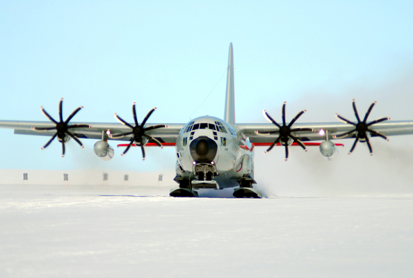 A ski-equipped LC-130 Hercules from the New York Air National Guard's 109th Airlift Wing takes off Feb. 2, 2011, during an Operation Deep Freeze mission in Antarctica. The 109th AW, which participates in the Antarctic missions from Christchurch, New Zealand, is the only organization that flies the ski-equipped LC-130s. (U.S. Air Force photo)