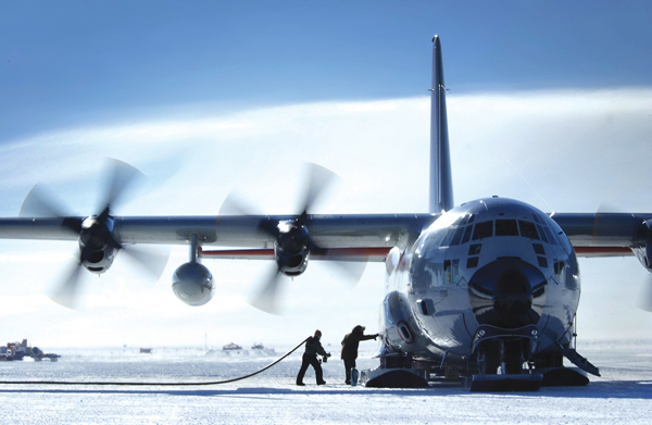 LC-130H Primary function: Tactical and intratheater airlift; special capability for polar regions. Speed: 350 mph. Dimensions: Wingspan 132 ft. 7 in.; length 97 ft. 9 in.; height 38 ft. 3 in. Range: 2,500 miles unrefueled. Crew: Six. (U.S. Air Force photo/Master Sgt. Efrain Gonzalez)