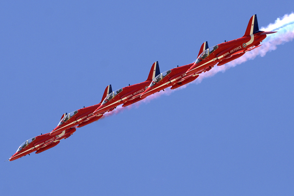 The Red Arrows Display over RAF Akrotiri, Cyprus 5 Hawks are shown performing the Tango formation.