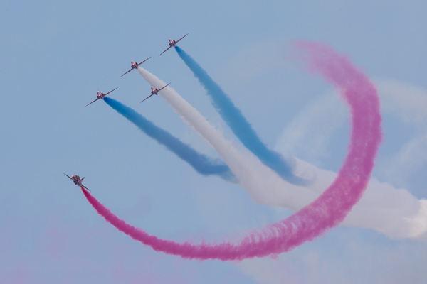 Armed Forces Day National Event Held in Cleethorpes - Sat 25 Jun 2016 Image shows:The RAF Aerobatic Team, The Red Arrows. Celebrations took place to mark the eighth annual Armed Forces Day, honouring the work and dedication of our brave Servicemen and women deployed around the world.More than 250 events including parades, military displays and community fetes are took place right across the country to say thank you to the Armed Forces community, including Regulars, Reserves, their families and veterans past and present.From fighting Daesh in the Middle East to training troops in Nigeria and supporting NATO exercises, the UK's Armed Forces are on duty 24/7. Armed Forces Day is a chance for Britain to acknowledge their hard work and sacrifice.The National Event was held in the seaside town Cleethorpes, Lincolnshire, attended by His Royal Highness the Duke of Kent representing the Queen and the Royal Family.Other guests included the Defence Secretary Michael Fallon, Minister of State for the Ministry of Defence and Deputy Leader of the House of Lords, The Rt Hon Earl Howe, the Commander of Joint Forces Command, General Sir Chris Deverell KCB MBE ADC and the Worshipful Mayor of North East Lincolnshire Christina McGilligan-Fell.The National Event began with a spectacular display from the Red Arrows, an amphibious display on the beach from the Royal Marines and a parachute drop from the RAF Falcons. A parade of Service personnel, veterans and cadets then marched down Cleethorpes seafront, from the North Promenade to the Boating Lake, followed by a motorcade of motorcyclists from the Armed Forces Bikers and the Royal British Legion bikers.The Duke of Kent took the salute from the parade on behalf of The Queen and Royal Family. Afternoon celebrations in Cleethorpes continued across the seafront with a variety of military displays including the White Helmets Motorcycle Display Team. Overhead the Battle of Britain Memorial Flight, a Chinook and the Royal