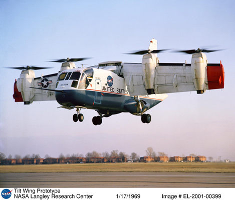 XC-142 in VTOL mode — NASA photo