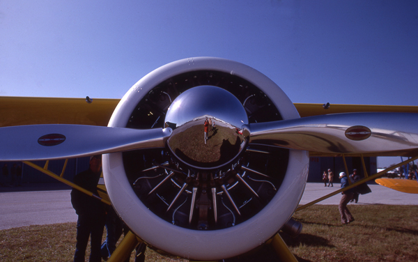 Howard Aircraft DGA-15P in chrome and yellow — photo by Joseph May