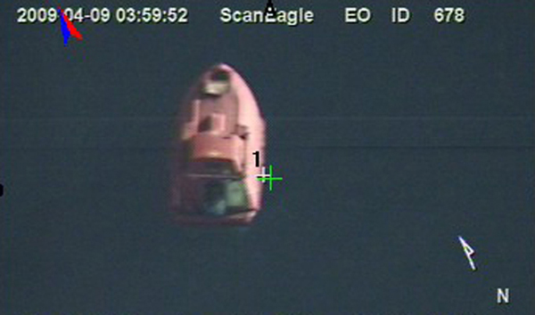 ScanEagle image of the Maersk Alabama lifeboat during the April 2009 hostage situation — U.S. Navy photo