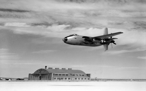 Douglas XB-42A Mixmaster making a low pass — U.S. Air Force photo