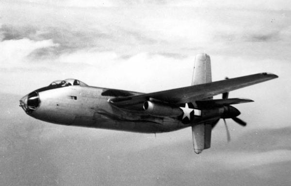 Douglas XB-42A Mixmaster in flight — U.S. Air Force photo