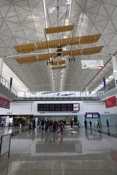 Farman III flying replica in Hong Kong International Airport's Arrival Hall — photo by Joseph May