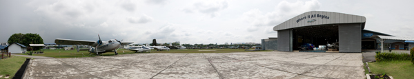 A reverse fish-eye image of the Royal Malaysian Air Force Museum — photo by Joseph May