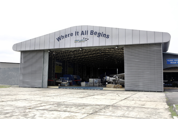 The hangar which houses a small number of the exhibitr aircraft of the Royal Malaysian Air Force Museum — photo by Joseph May