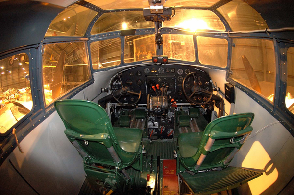 Interior view of the cockpit in the B-18 Bolo on display at the National Museum of the U.S. Air Force — U.S. Air Force photo