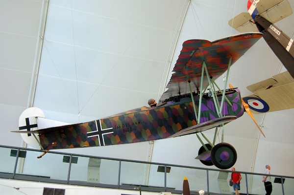 Fokker D.VIIa at the RAF Museum London — used with permission of Ross Sharp (an copyright holder)