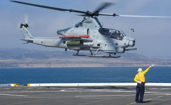 USMC AH-1Z Viper departing the flight deck of the USS New Orleans (LPD 18) — U.S. Navy photo by Mass Comm Spec 3rd Class Dominique Pineiro