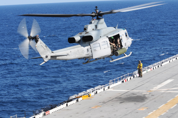 UH-1Y Venom taking off from the USS Wasp (LHD 1) for an evaluation flight for the aircraft type — U.S. Navy photo by Mass Comm Spec 1st Class Rebekah Adler