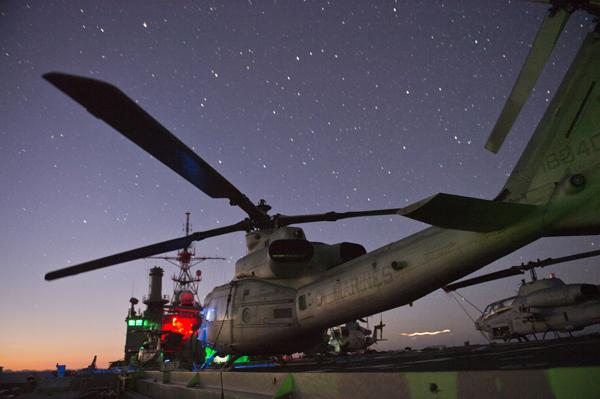 UH-1Y Venom of the Marine Tiltrotor Squadron (VMM) 265 on USS Denver's (LPD 9) flight deck — U.S. Navy photo by Mass Comm Spec 3rd Class Christopher Lindahl